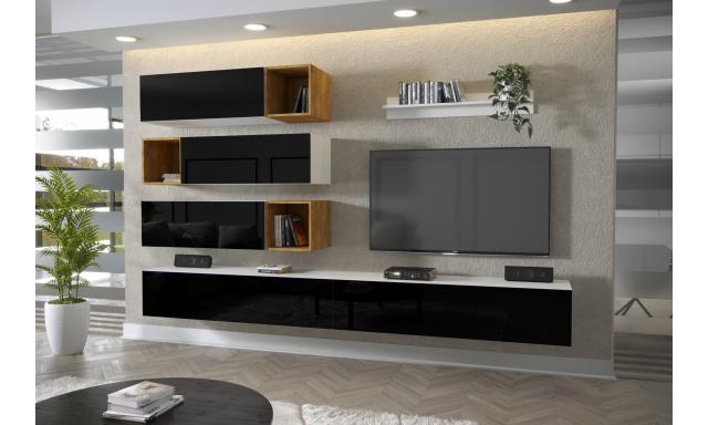 Moderný bytový nábytok Premio H, biela / čierny lesk