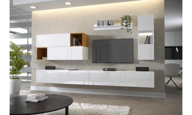 Moderný bytový nábytok Premio G, biela / biely lesk