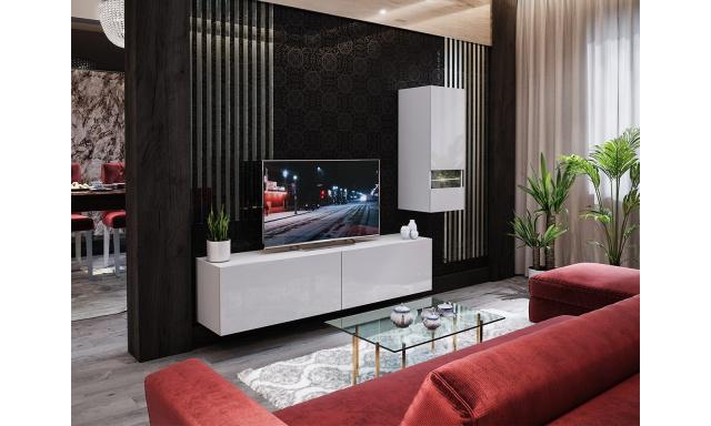 Moderná obývacia stena Bonny 15, biela / biely lesk