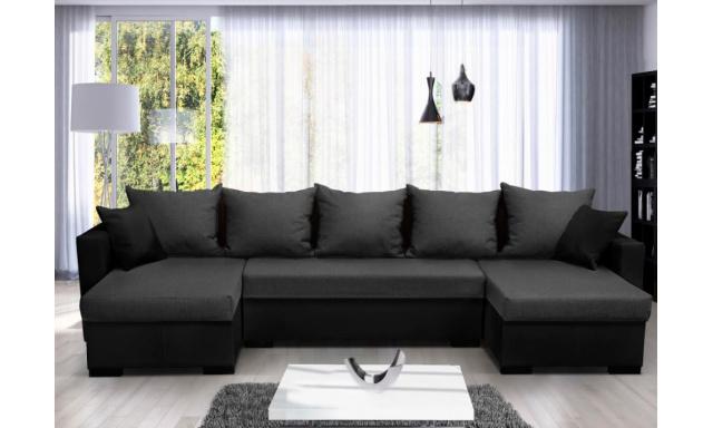 Moderná rohová sedacia súprava Karlos U, čierna / sivá