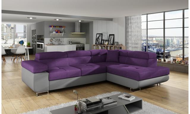 Moderná rohová sedačka Astra, sivá / fialová