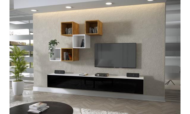 Moderný bytový nábytok Premio J, biela / čierny lesk
