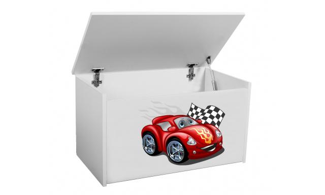 Box na hračky Denia, biely + autíčko