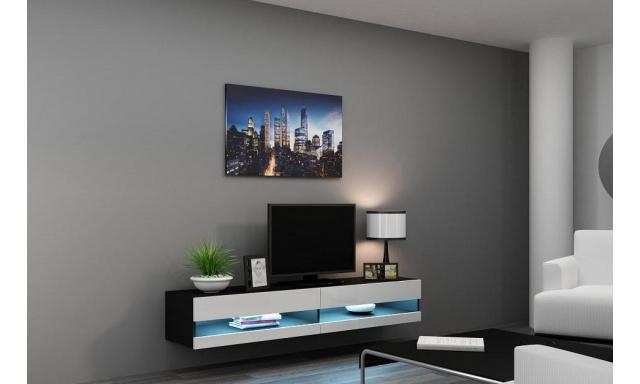 Moderný TV stolík Igore new, černá/bílý lesk