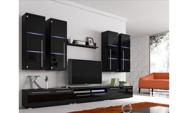 Moderná obývacia stena Breton black + LED
