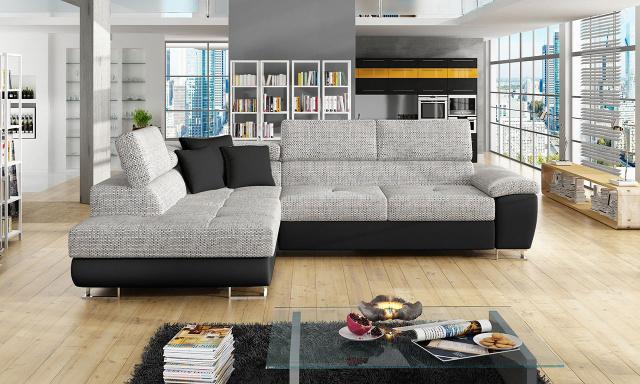 Luxusná sedacia súprava Cinnamon, čierna / sivá
