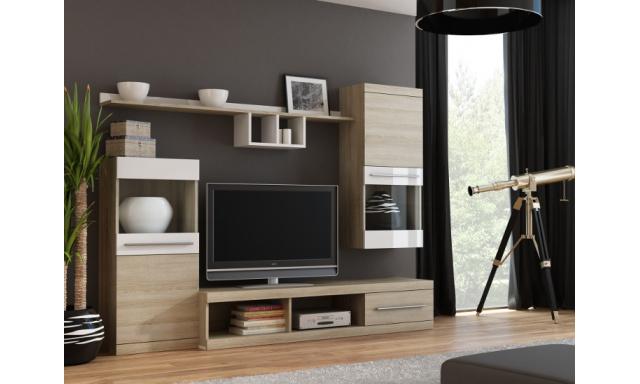 Moderná obývacia stena Niki, sonoma / biela