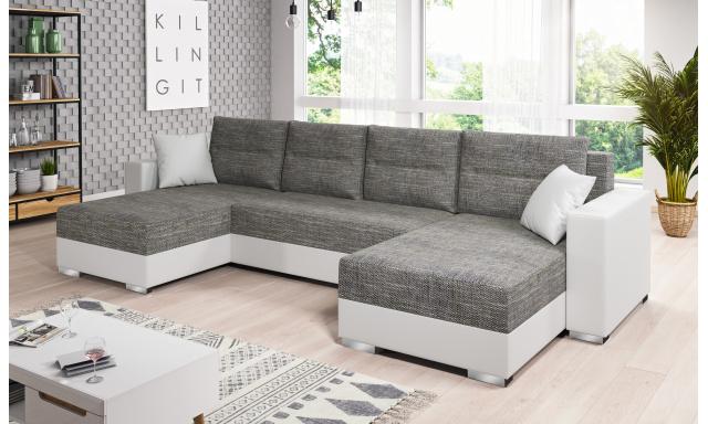 Moderná sedacia súprava tvaru U Murcia, biela / sivá