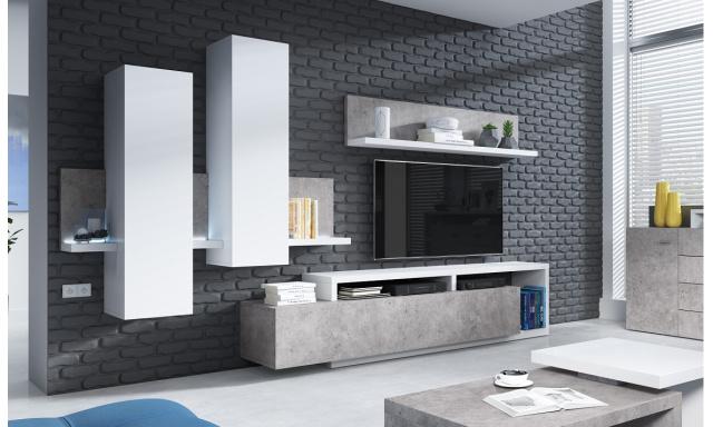 Dizajnová obývacia stena Bigla, biela / betón + LED