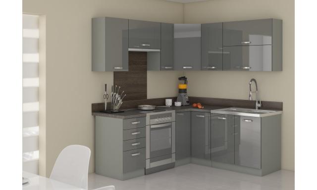 Rohová kuchyne Gery 190x170cm, sivý lesk
