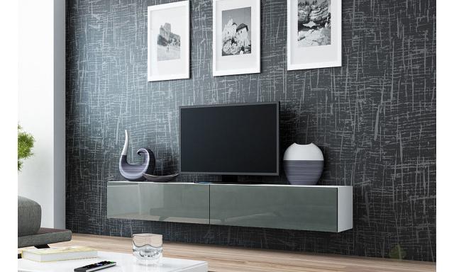 Moderný TV stolík Igore 180, bílá/šedý lesk