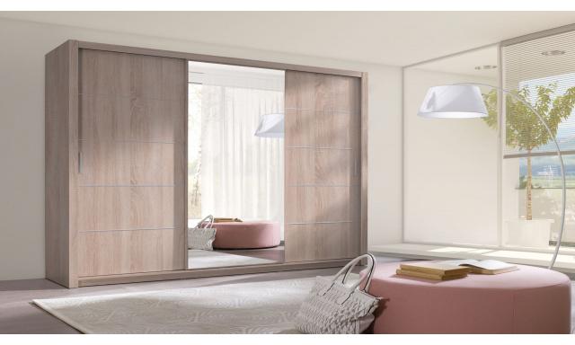 Moderné šatníková skriňa Ralf 250, sonoma / zrkadlo