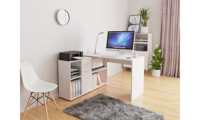 Rohový PC stôl Ariel, biely