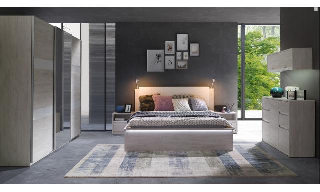 Spálňový nábytok Drake C, dub biely / grafit lesk