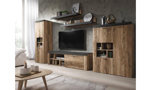 Dizajnová obývacia stena Amelie, orech / touchwood