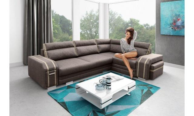 Luxusné rohová sedačka Aventador, hnedá