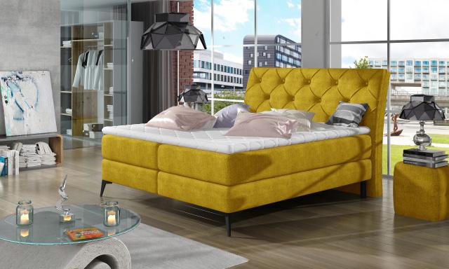 Štýlová box spring posteľ Lenny 180x200, žltá