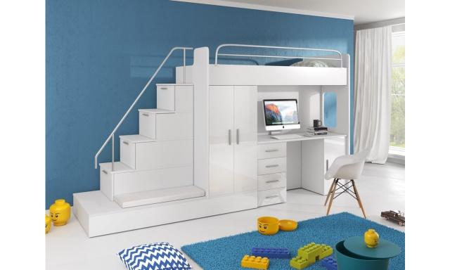 Detská izba Rimini, biela / biely lesk