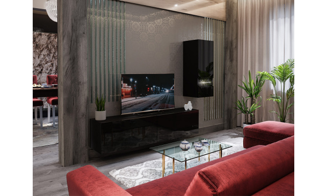 Moderná obývacia stena Bonny 15, čierna / čierny lesk