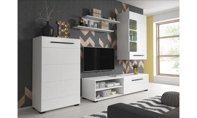 Moderná obývacia stena Belima, biela + LED