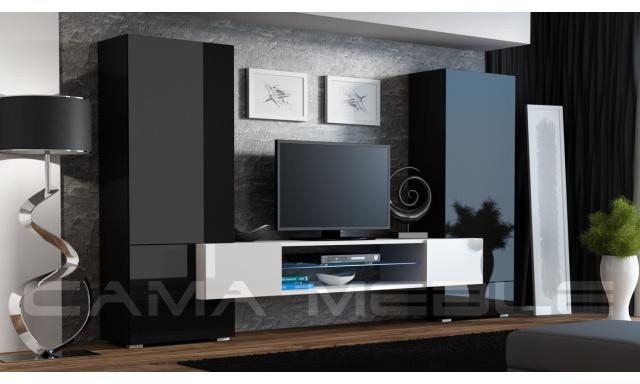 Moderná obývacia stena Diego, čierna s bielym TV stolíkom