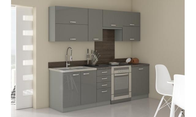 Luxusné kuchyne Gery, šedý lesk