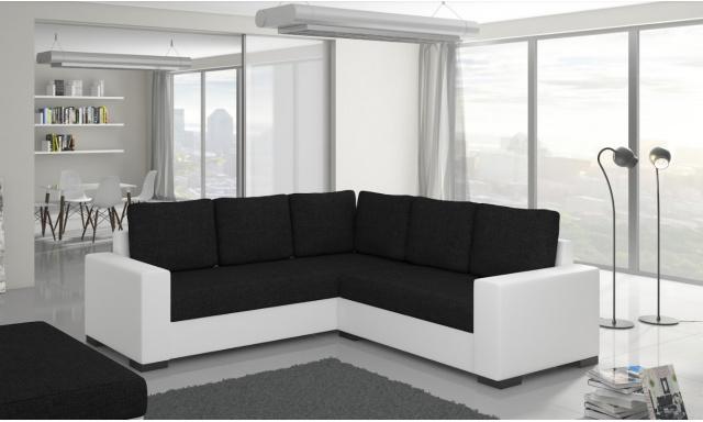 Moderná rohová sedačka Castel, biela / čierna