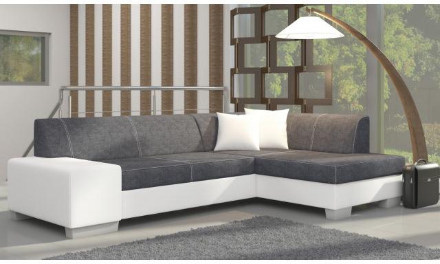 Moderná rohová sedačka Filip, biela / sivá