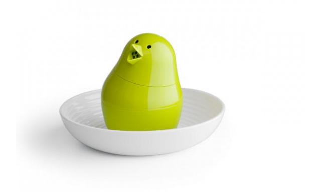 Soľnička s miskou na vajíčko Qual Jib-Jib Shaker, biela-zelená