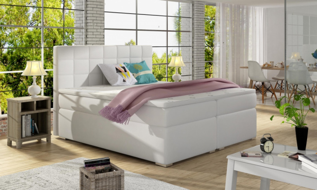 Moderná box spring posteľ Alvares 160x200, biela