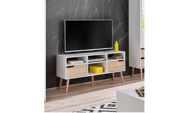 TV stolík Fiesta so zásuvkou, sonoma / biela