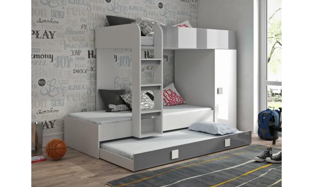 Detská posteľ pre 3 deti Thiago, biela / sivý lesk