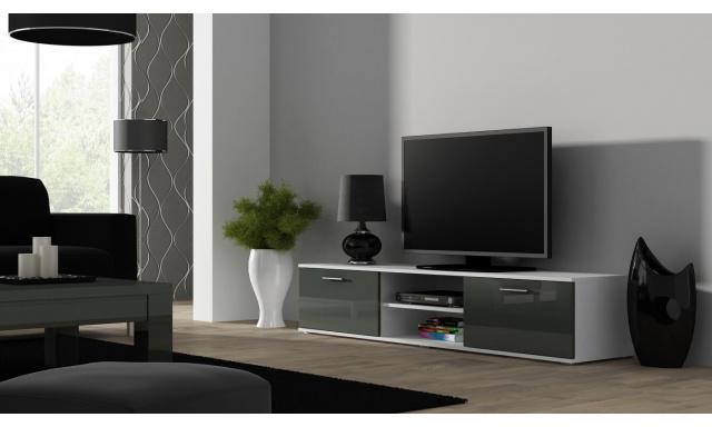 Moderný televízny stolík Zita 180, biela / šedý lesk