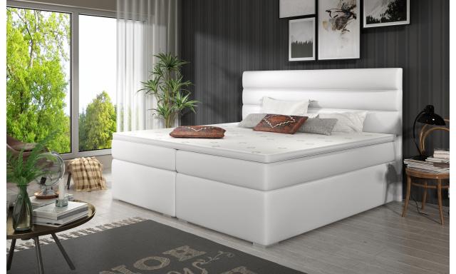 Elegantná box spring posteľ Sedina 180x200, biela