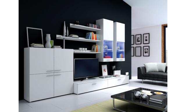 Moderná obývacia stena Diana II, biela / biely lesk + LED