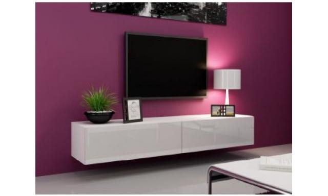 Moderný TV stolík Igore 180, bílá/bílý lesk