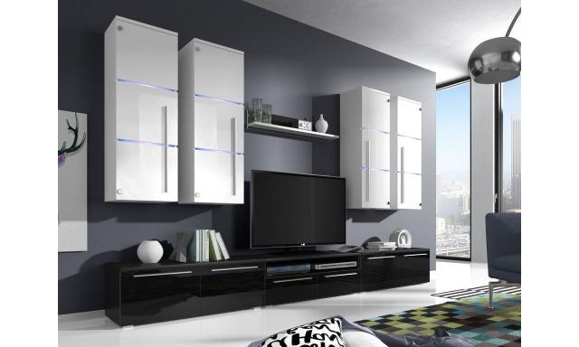 Moderná obývacia stena Breton White / Black + LED