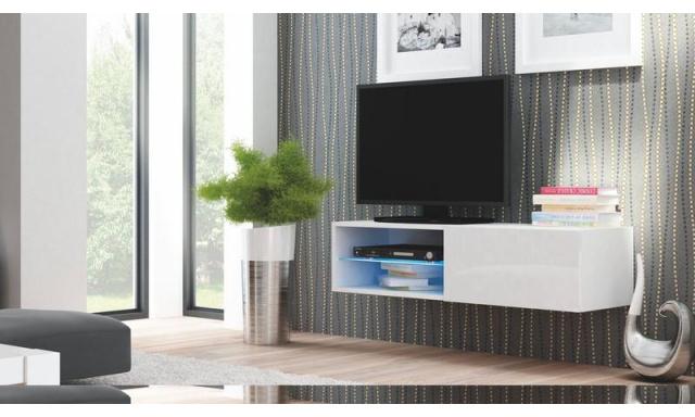 Moderný TV stolík Livorno 120, biely lesk