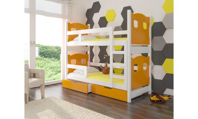 Detská poschodová posteľ Marika, biela / oranžová + matrace ZADARMO!