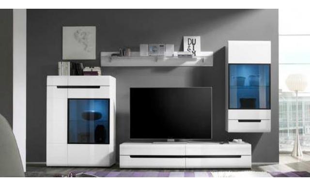 Luxusné obývacia stena Helios B, biely lesk