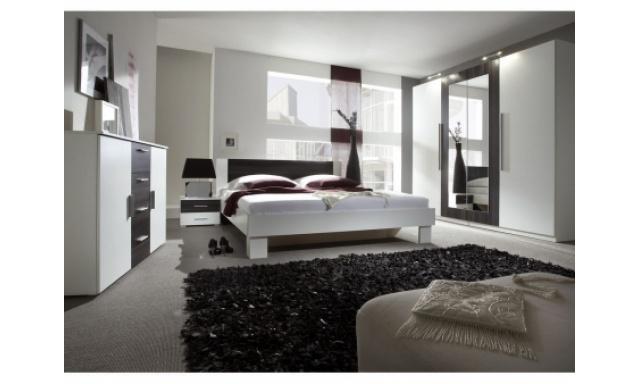Spálňa Veronika s postelí 180cm, bílá/ořech černý