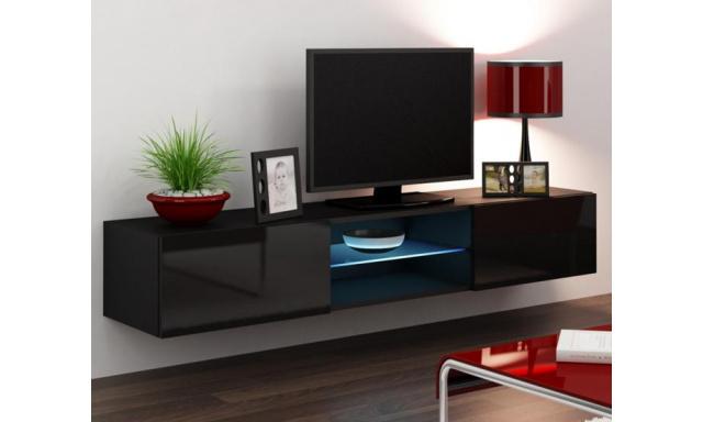 Moderný TV stolík Igore 180 GLASS, černá/černý lesk