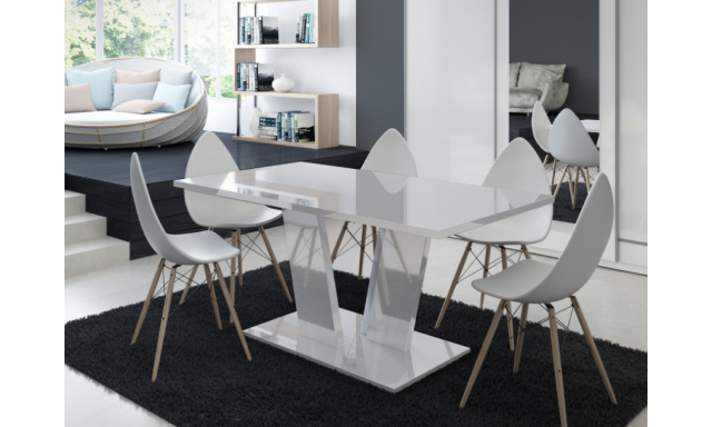 Moderný jedálenský stôl Voice, biely lesk