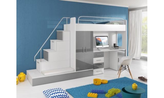 Detská izba Rimini, biela / šedý lesk