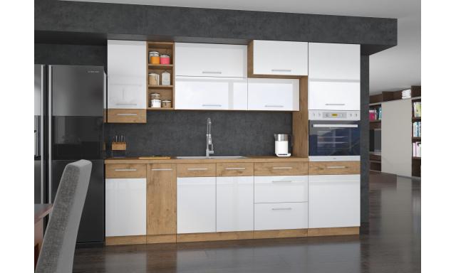 Luxusné kuchyne Verizon s voľbou rozmerov, dub Lancelot / biely lesk