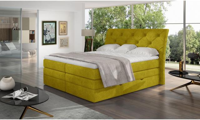 Kvalitná box spring posteľ Marek 180x200, žltá