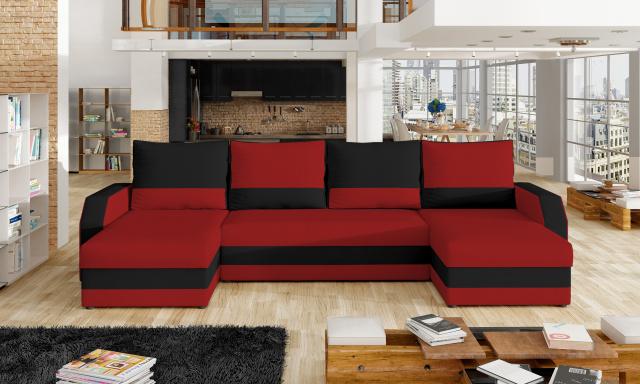 Lacná sedačka v tvare U Margot, červená / čierna