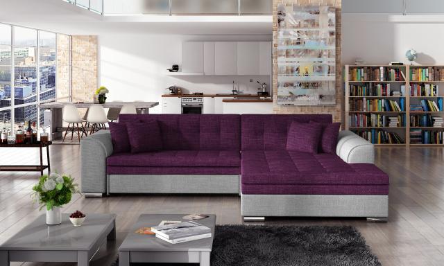 Moderná rohová sedačka Santos, sivá / fialová