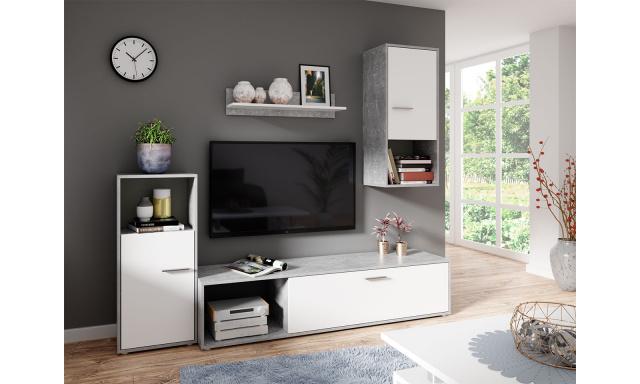 Moderná obývacia stena Asgard, biela / sivá