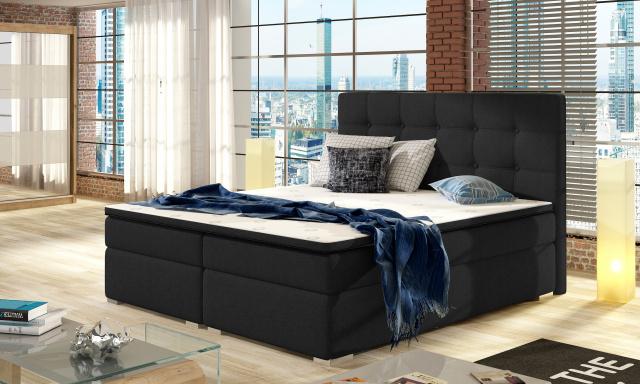 Moderná box spring posteľ Inter 180x200, čierna